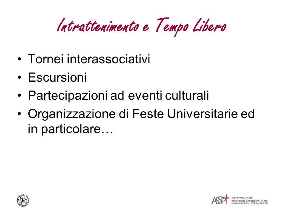 Intrattenimento e Tempo Libero Tornei interassociativi Escursioni Partecipazioni ad eventi culturali Organizzazione di Feste Universitarie ed in parti
