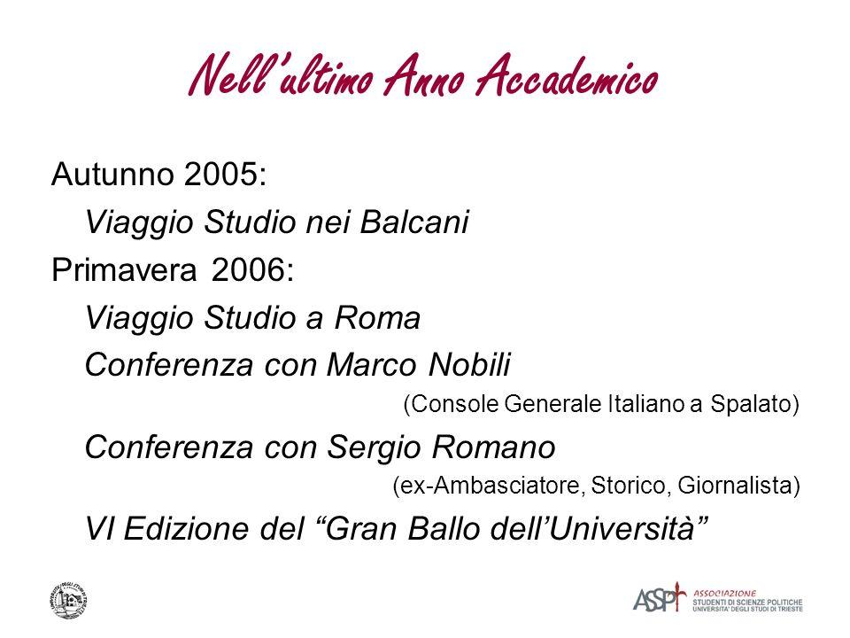 Nellultimo Anno Accademico Autunno 2005: Viaggio Studio nei Balcani Primavera 2006: Viaggio Studio a Roma Conferenza con Marco Nobili (Console General