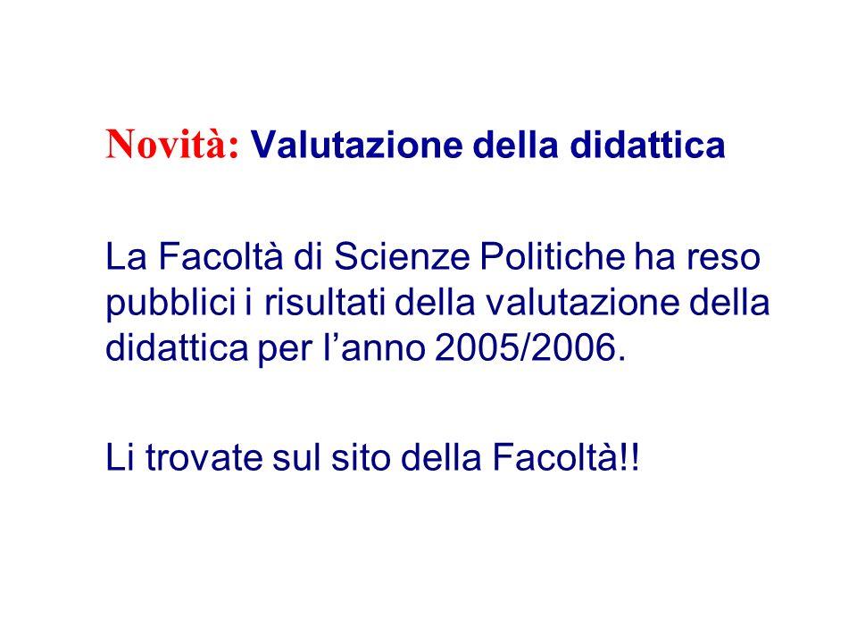 Novità: Valutazione della didattica La Facoltà di Scienze Politiche ha reso pubblici i risultati della valutazione della didattica per lanno 2005/2006