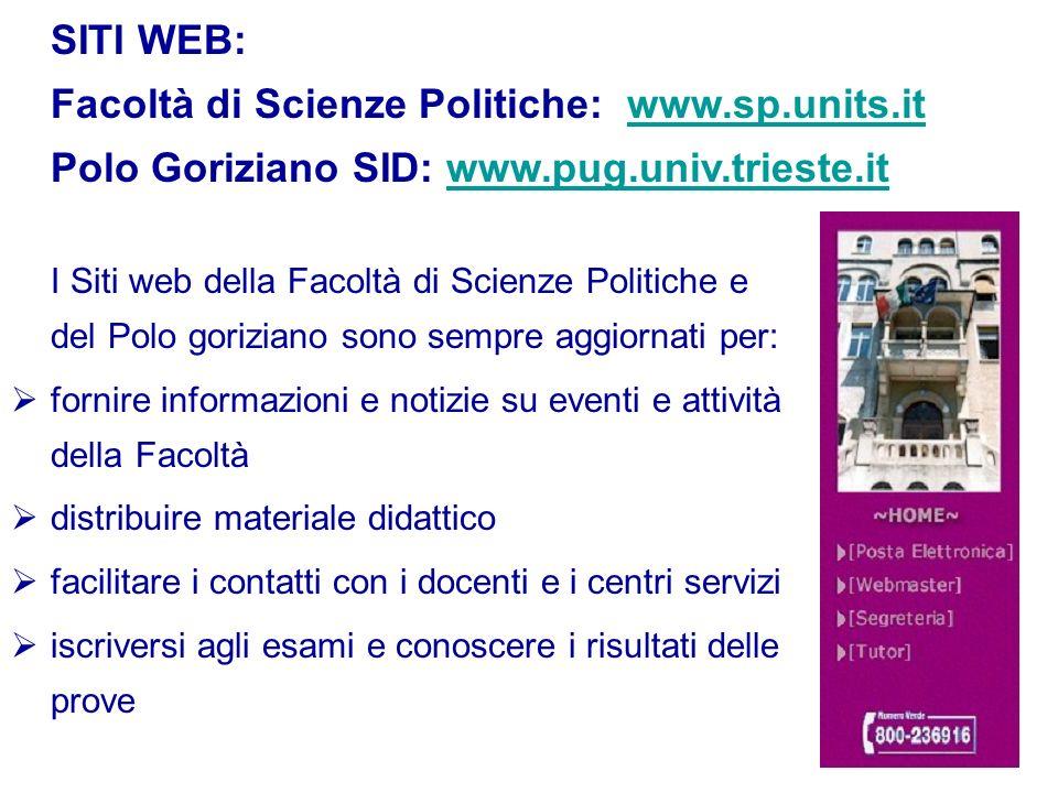 SITI WEB: Facoltà di Scienze Politiche: www.sp.units.it Polo Goriziano SID: www.pug.univ.trieste.itwww.sp.units.itwww.pug.univ.trieste.it I Siti web d