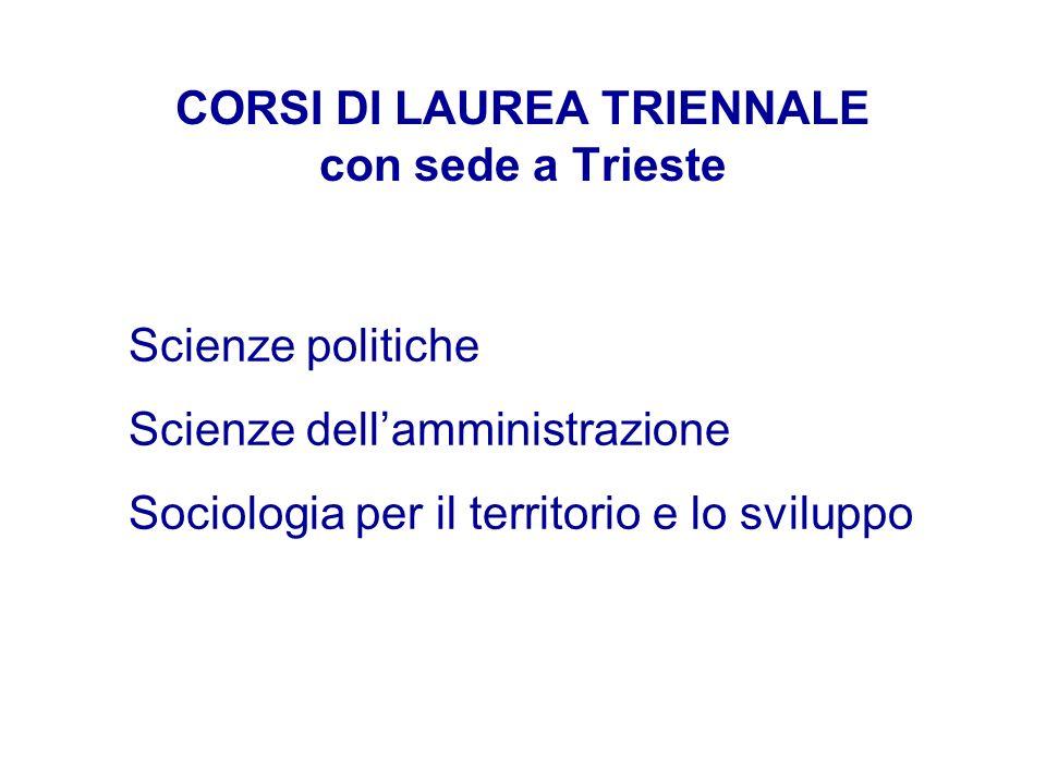 CORSI DI LAUREA TRIENNALE con sede a Trieste Scienze politiche Scienze dellamministrazione Sociologia per il territorio e lo sviluppo