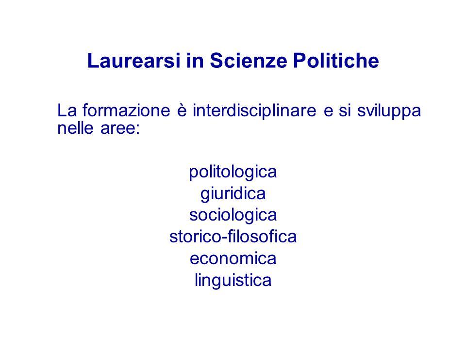 Laurearsi in Scienze Politiche La formazione è interdisciplinare e si sviluppa nelle aree: politologica giuridica sociologica storico-filosofica econo