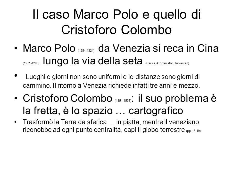 Il caso Marco Polo e quello di Cristoforo Colombo Marco Polo (1254-1324) da Venezia si reca in Cina (1271-1288) lungo la via della seta (Persia,Afghan