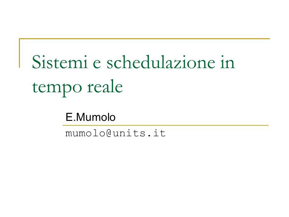 Sistemi operativi in tempo reale FATTI DEI SISTEMI OPERATIVI RT In un sistema di controllo RT ogni processo e ben noto.