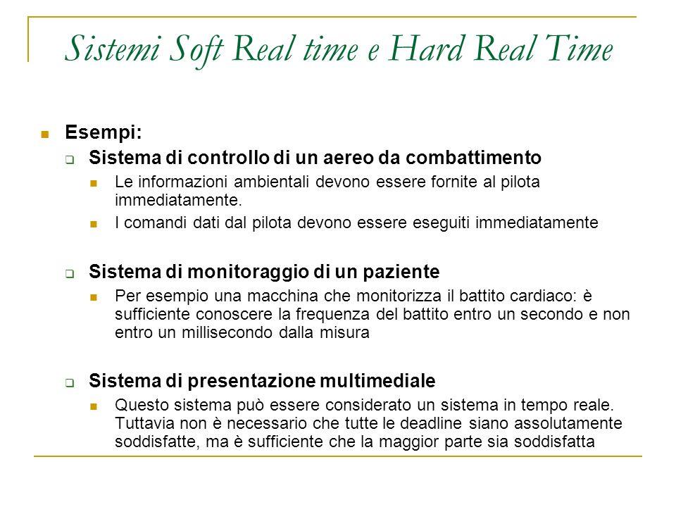 Sistemi Soft Real time e Hard Real Time Esempi: Sistema di controllo di un aereo da combattimento Le informazioni ambientali devono essere fornite al pilota immediatamente.