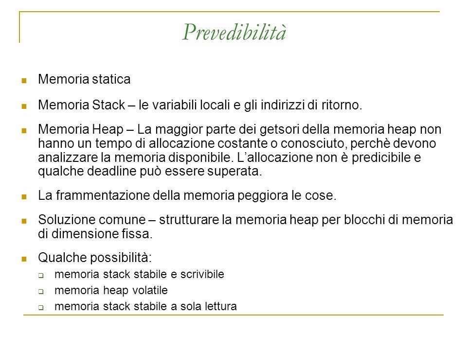 Prevedibilità Memoria statica Memoria Stack – le variabili locali e gli indirizzi di ritorno.