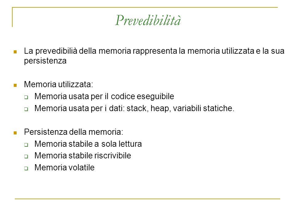 Prevedibilità La prevedibilià della memoria rappresenta la memoria utilizzata e la sua persistenza Memoria utilizzata: Memoria usata per il codice eseguibile Memoria usata per i dati: stack, heap, variabili statiche.