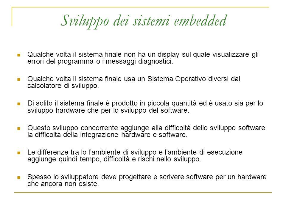 Sviluppo dei sistemi embedded Qualche volta il sistema finale non ha un display sul quale visualizzare gli errori del programma o i messaggi diagnostici.