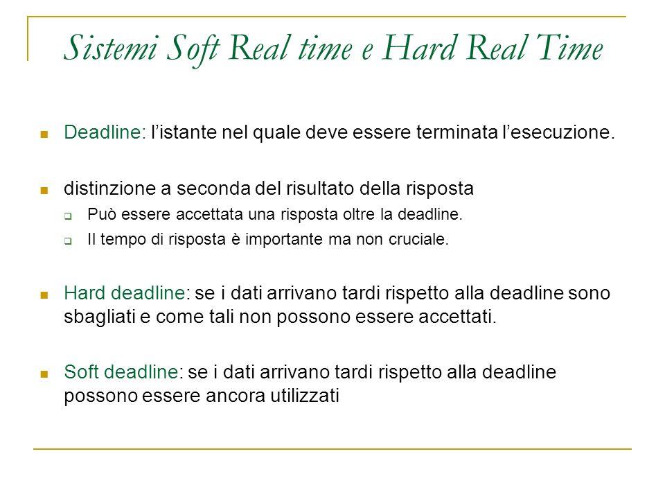 Earliest Deadline First (EDF) 94 72 2 51 1 TiTi CiCi U=1/5+2/7+4/9=0.93 Uno dei piu usati, Complessita O(n) (lista ordinata) Si seleziona dalla lista dei processi pronti quello la cui deadline e piu imminente Pre-emptive: se arriva un task con deadline minore sospensione Utilizzabile nei SO a base prioritaria (priorita alta=deadline vicina) La coda dei processi pronti ordinata (velocizzare) Teorema di schedulabilità: Condizione necessaria e sufficiente per la schedulabilità e C i /T i 1 U lsm =1 Esempio: