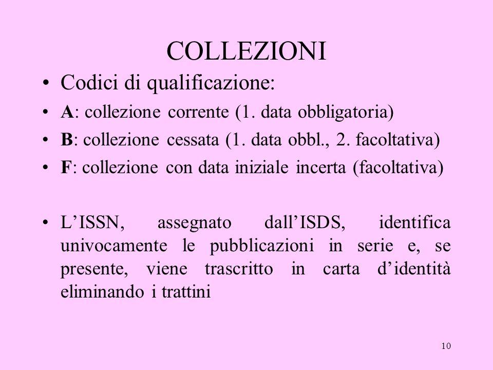 10 COLLEZIONI Codici di qualificazione: A: collezione corrente (1.