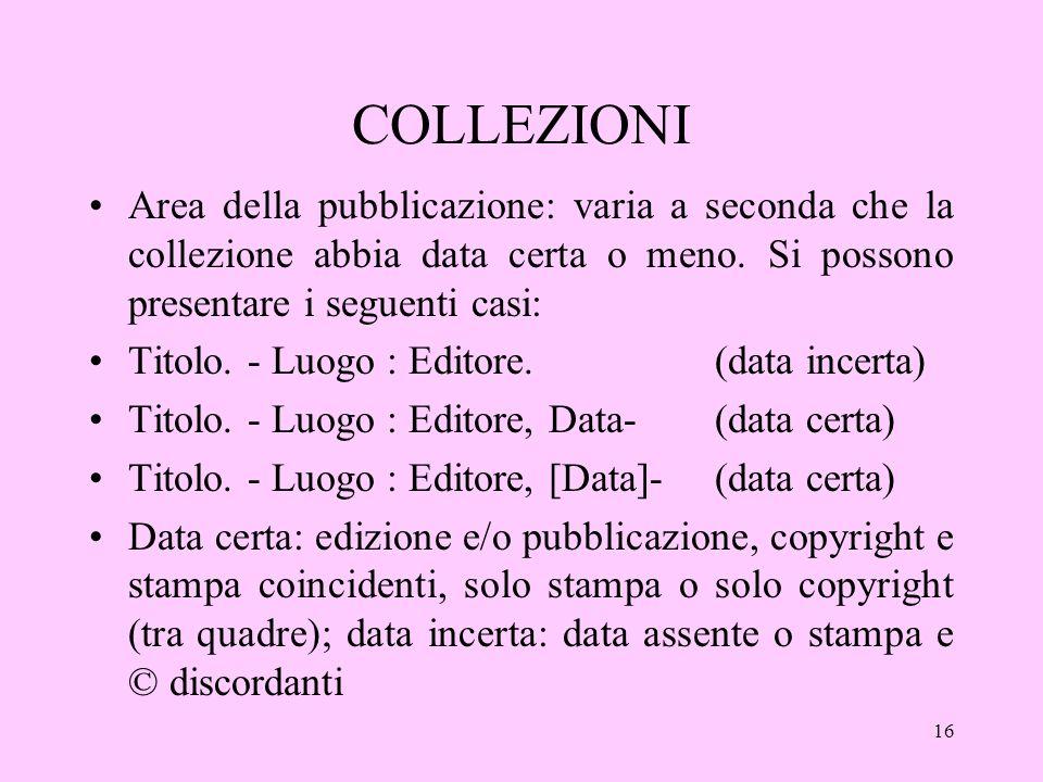 16 COLLEZIONI Area della pubblicazione: varia a seconda che la collezione abbia data certa o meno.