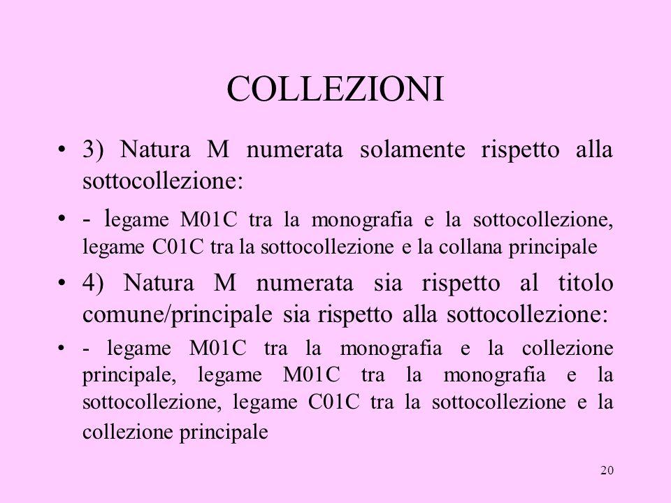 20 COLLEZIONI 3) Natura M numerata solamente rispetto alla sottocollezione: - l egame M01C tra la monografia e la sottocollezione, legame C01C tra la sottocollezione e la collana principale 4) Natura M numerata sia rispetto al titolo comune/principale sia rispetto alla sottocollezione: - legame M01C tra la monografia e la collezione principale, legame M01C tra la monografia e la sottocollezione, legame C01C tra la sottocollezione e la collezione principale
