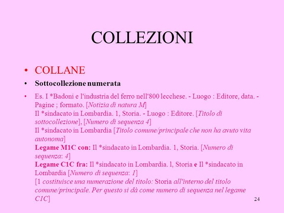 24 COLLEZIONI COLLANE Sottocollezione numerata Es.