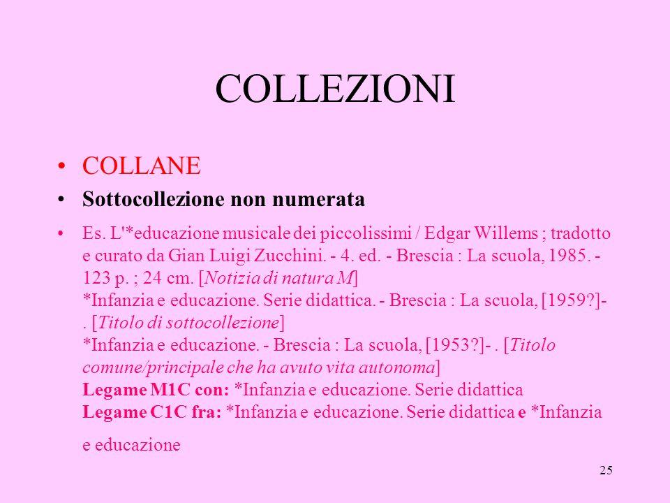 25 COLLEZIONI COLLANE Sottocollezione non numerata Es.