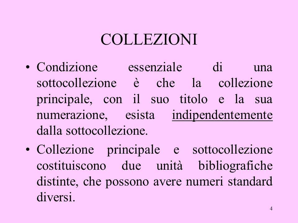 4 COLLEZIONI Condizione essenziale di una sottocollezione è che la collezione principale, con il suo titolo e la sua numerazione, esista indipendentemente dalla sottocollezione.