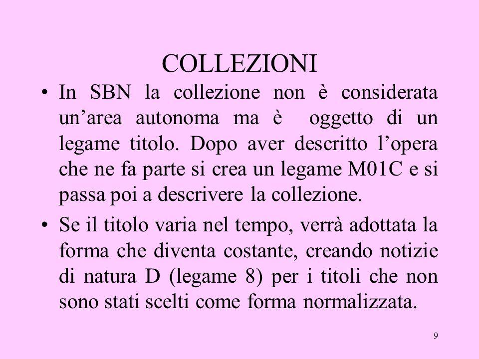 9 COLLEZIONI In SBN la collezione non è considerata unarea autonoma ma è oggetto di un legame titolo.
