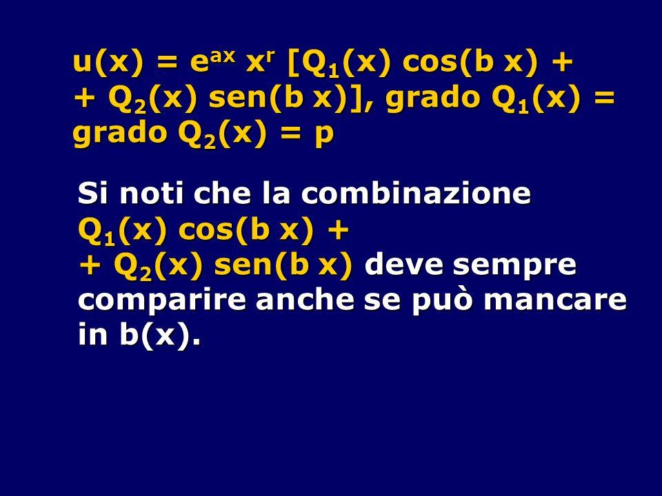 u(x) = e ax x r [Q 1 (x) cos(b x) + + Q 2 (x) sen(b x)], grado Q 1 (x) = grado Q 2 (x) = p Si noti che la combinazione Q 1 (x) cos(b x) + + Q 2 (x) se