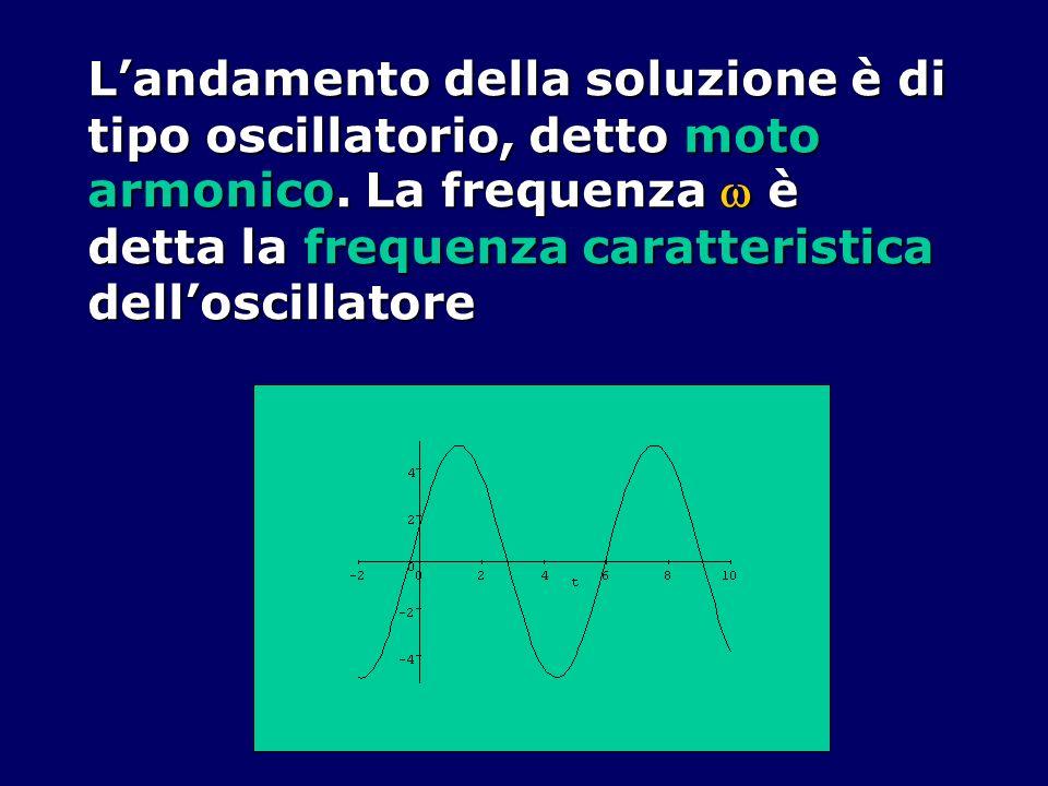 Landamento della soluzione è di tipo oscillatorio, detto moto armonico. La frequenza è detta la frequenza caratteristica delloscillatore