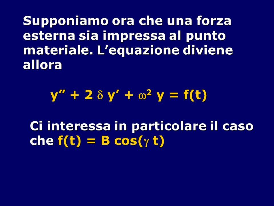 Supponiamo ora che una forza esterna sia impressa al punto materiale. Lequazione diviene allora y + 2 y + 2 y = f(t) Ci interessa in particolare il ca