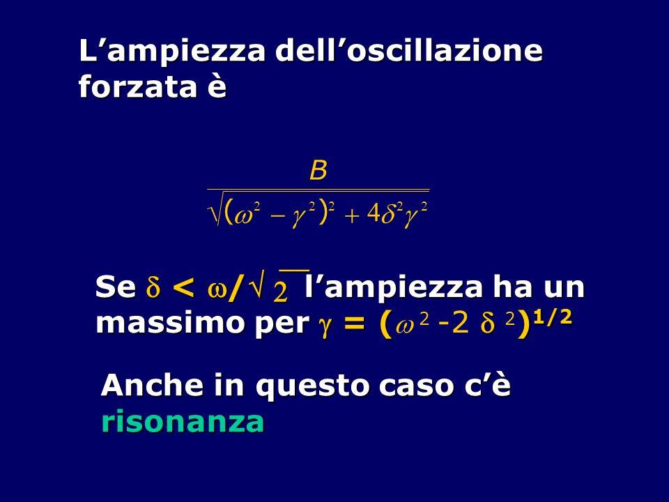 B ( 2 2 ) 2 4 2 2 Lampiezza delloscillazione forzata è Se < / lampiezza ha un massimo per = ( ) 1/2 massimo per = ( 2 -2 2 ) 1/2 Anche in questo caso