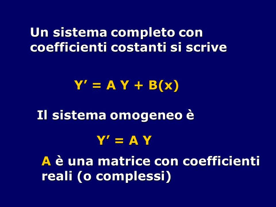 Un sistema completo con coefficienti costanti si scrive Y = A Y + B(x) Il sistema omogeneo è Y = A Y A è una matrice con coefficienti reali (o comples