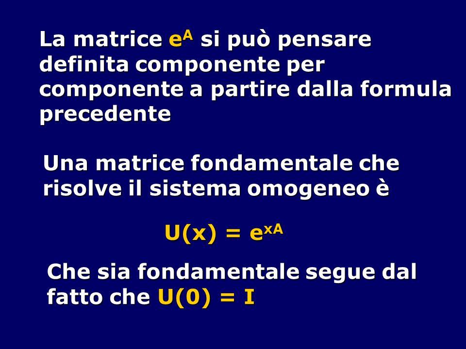 La matrice e A si può pensare definita componente per componente a partire dalla formula precedente Una matrice fondamentale che risolve il sistema om