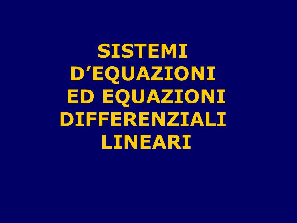 Argomenti della lezione Equazioni e sistemi dequazioni differenziali ordinarie Equazioni e sistemi dequazioni differenziali ordinarie Sistemi dequazioni differenziali ordinarie lineari a coefficienti continui Sistemi dequazioni differenziali ordinarie lineari a coefficienti continui