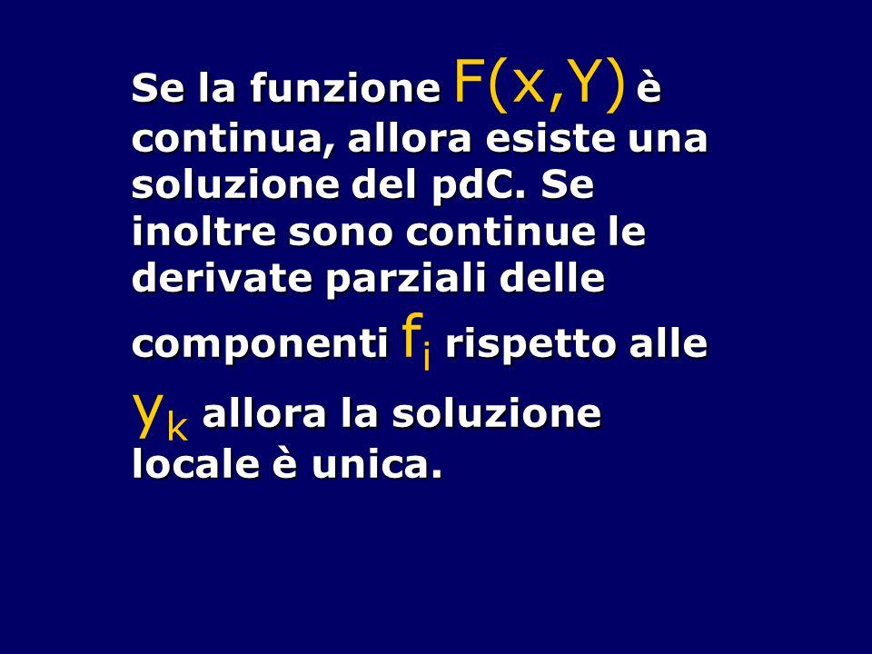 Se la funzione è continua, allora esiste una soluzione del pdC. Se inoltre sono continue le derivate parziali delle componenti rispetto alle allora la