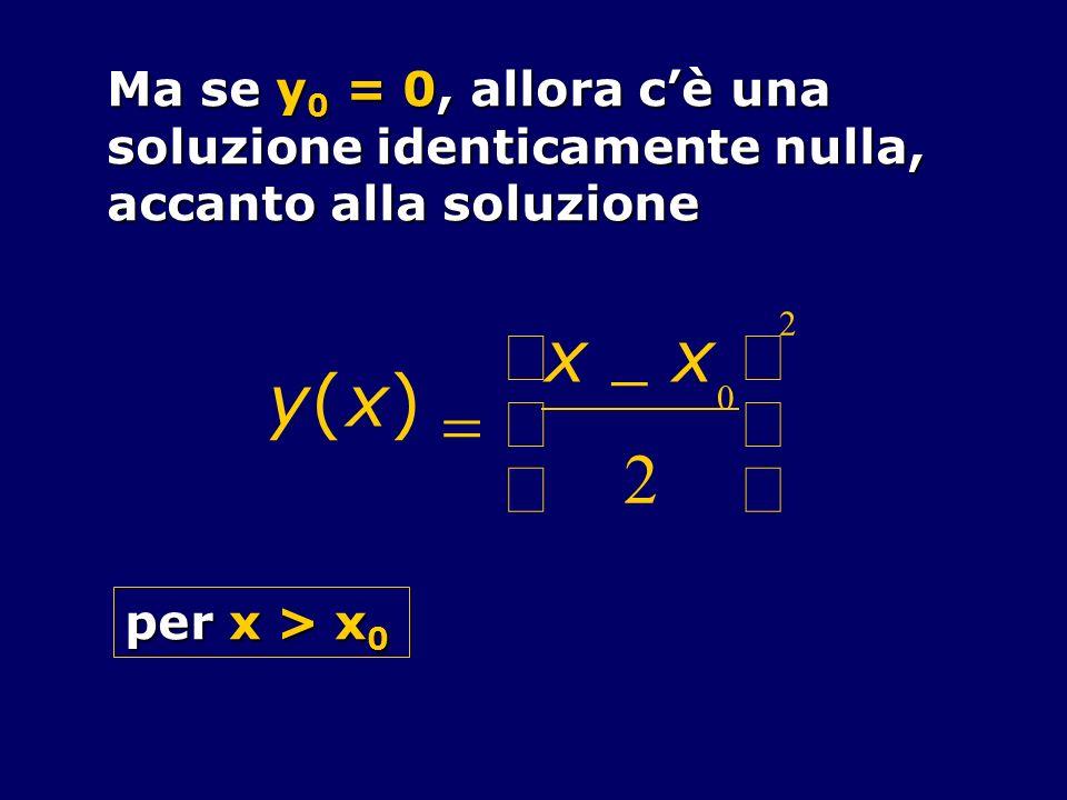 Ma se y 0 = 0, allora cè una soluzione identicamente nulla, accanto alla soluzione y(x) x x 0 2 2 per x > x 0