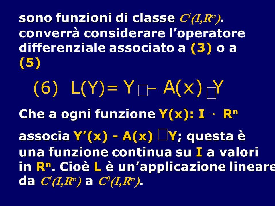 sono funzioni di classe sono funzioni di classe C 1 (I,R n ). converrà considerare loperatore differenziale associato a (3) o a (5) Y A(x) Y (6) L(Y)=