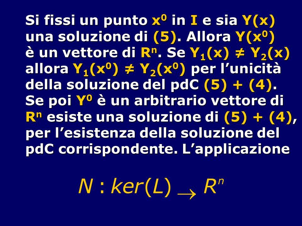 Si fissi un punto x 0 in I e sia Y(x) una soluzione di (5). Allora Y(x 0 ) è un vettore di R n. Se Y 1 (x) Y 2 (x) allora Y 1 (x 0 ) Y 2 (x 0 ) per lu
