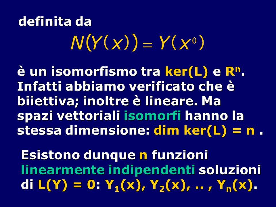 definita da NY ( x ) () Y ( x 0 ) è un isomorfismo tra ker(L) e R n. Infatti abbiamo verificato che è biiettiva; inoltre è lineare. Ma spazi vettorial