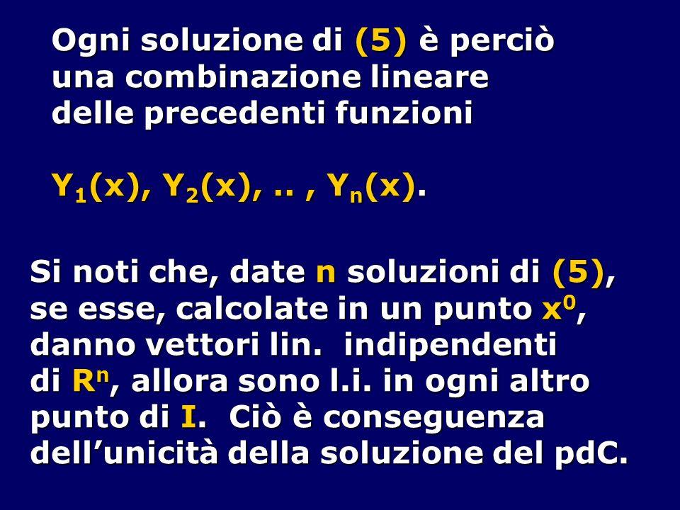 Ogni soluzione di (5) è perciò una combinazione lineare delle precedenti funzioni Y 1 (x), Y 2 (x),.., Y n (x). Si noti che, date n soluzioni di (5),