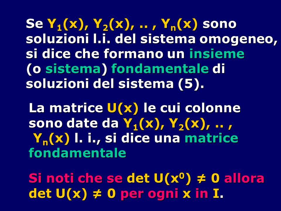 Se Y 1 (x), Y 2 (x),.., Y n (x) sono soluzioni l.i. del sistema omogeneo, si dice che formano un insieme (o sistema) fondamentale di soluzioni del sis