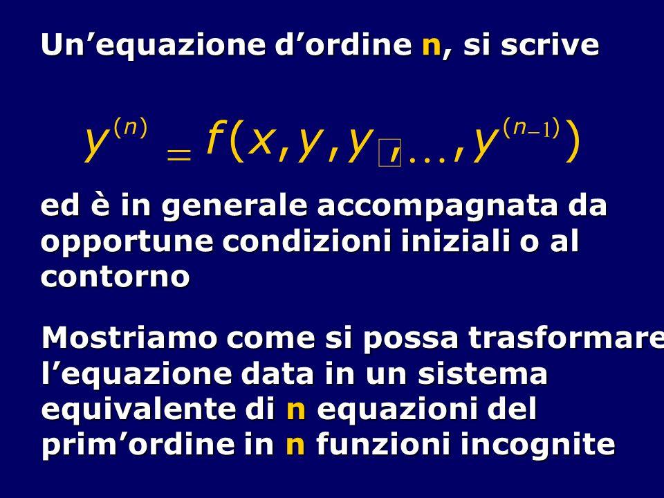 Unequazione dordine n, si scrive y (n) f(x,y, y,,y (n 1 ) ) ed è in generale accompagnata da opportune condizioni iniziali o al contorno Mostriamo com