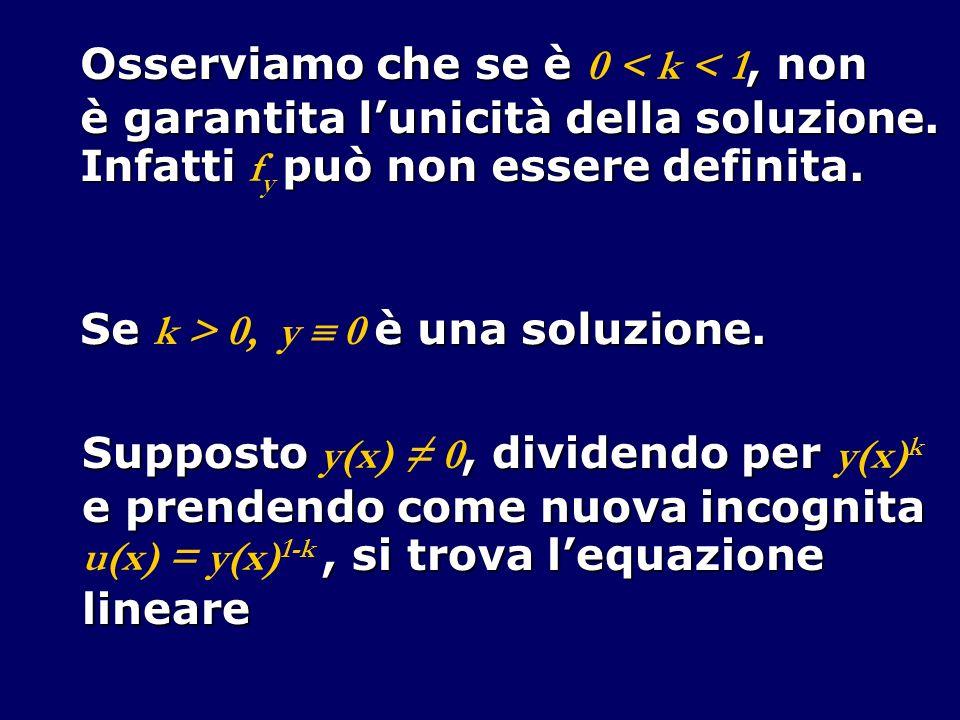 Osserviamo che se è, non Osserviamo che se è 0 < k < 1, non è garantita lunicità della soluzione.