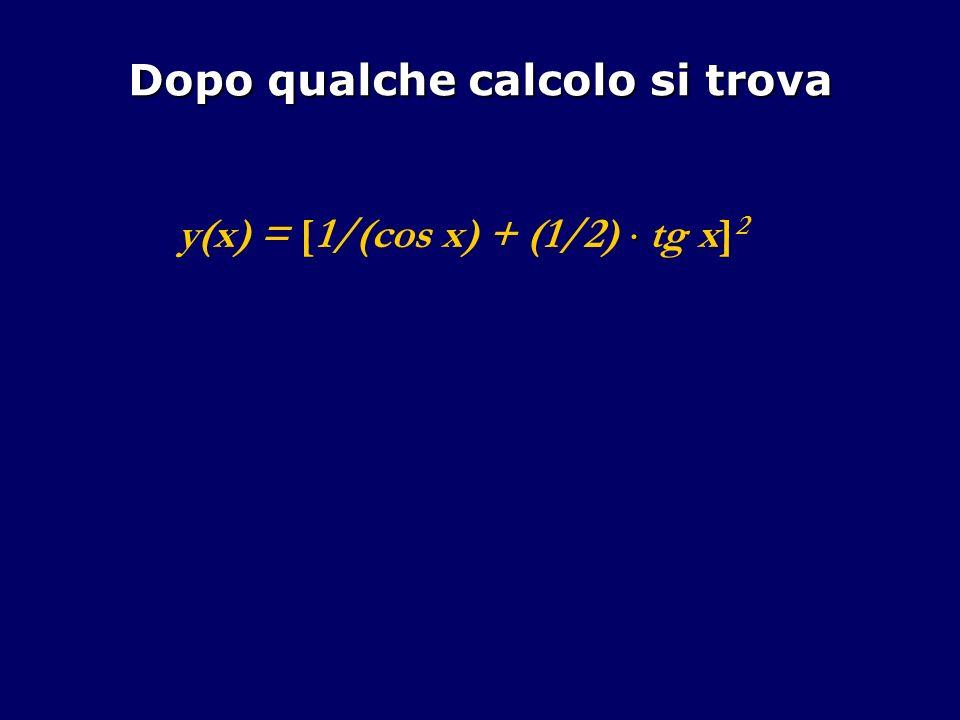 Dopo qualche calcolo si trova y(x) = [1/(cos x) + (1/2) tg x] 2