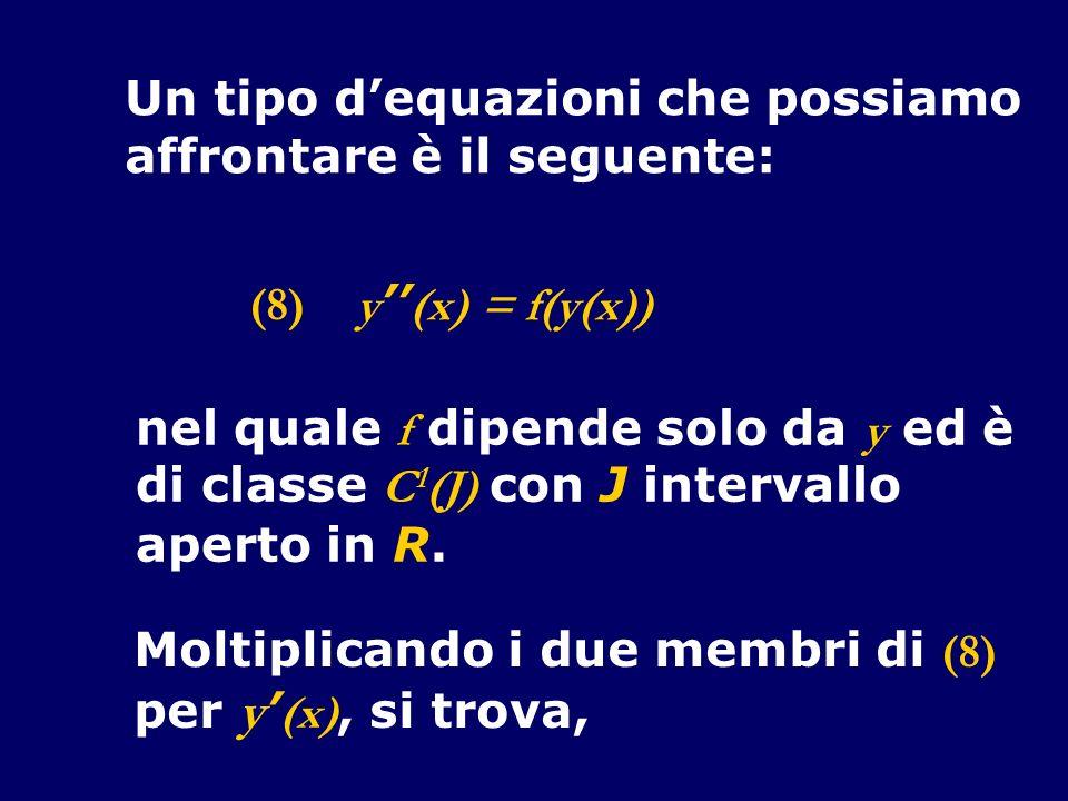 Un tipo dequazioni che possiamo affrontare è il seguente: y (x) = f(y(x)) nel quale f dipende solo da y ed è di classe C 1 (J) con J intervallo aperto in R.