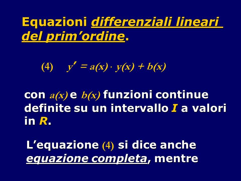 Equazioni differenziali lineari del primordine.