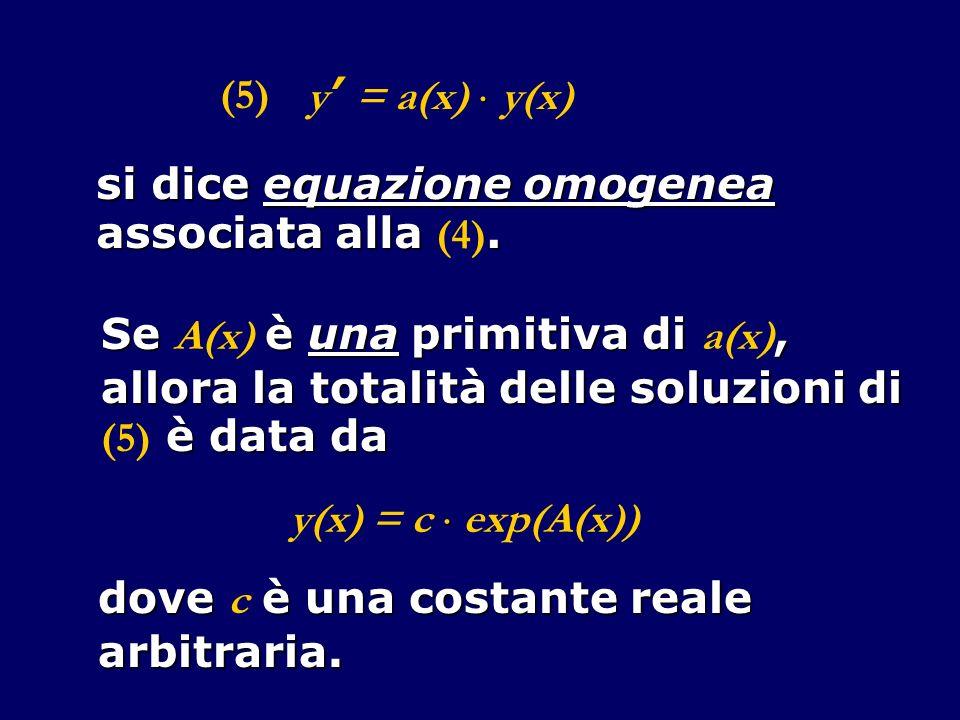 y = a(x) y(x) (5) si dice equazione omogenea associata alla.