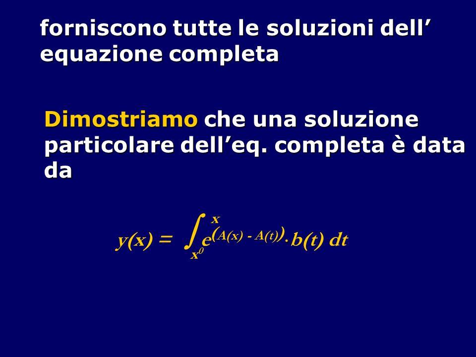 Se f, f y e f z sono continue in A, allora si può dimostrare che esiste una soluzione locale unica del pdC: y (x) = f(x,y(x),y (x)) y (x 0 ) = y 0 y (x 0 ) = z 0