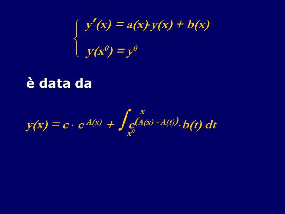è data da y (x) = a(x) y(x) + b(x) y (x 0 ) = y 0 y(x) = c e A(x) + e ( A(x) - A(t) ) b(t) dt x0x0 x
