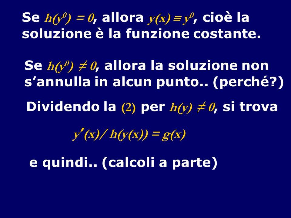 Se h(y 0 ) = 0, allora y(x) y 0, cioè la soluzione è la funzione costante. Se h(y 0 ) 0, allora la soluzione non sannulla in alcun punto.. (perché?) D