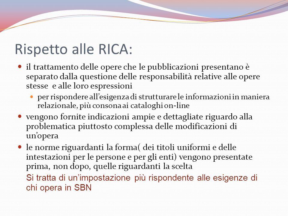 Rispetto alle RICA: il trattamento delle opere che le pubblicazioni presentano è separato dalla questione delle responsabilità relative alle opere ste