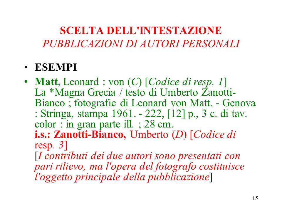 15 SCELTA DELL INTESTAZIONE PUBBLICAZIONI DI AUTORI PERSONALI ESEMPI Matt, Leonard : von (C) [Codice di resp.
