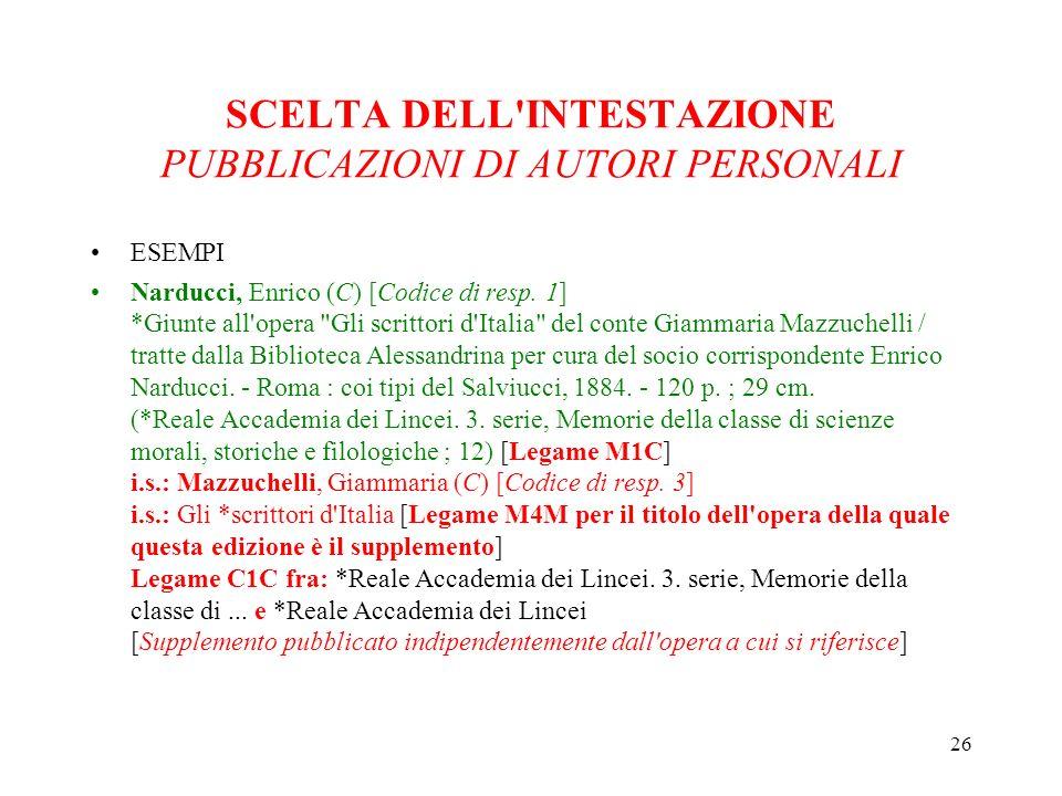 26 SCELTA DELL INTESTAZIONE PUBBLICAZIONI DI AUTORI PERSONALI ESEMPI Narducci, Enrico (C) [Codice di resp.