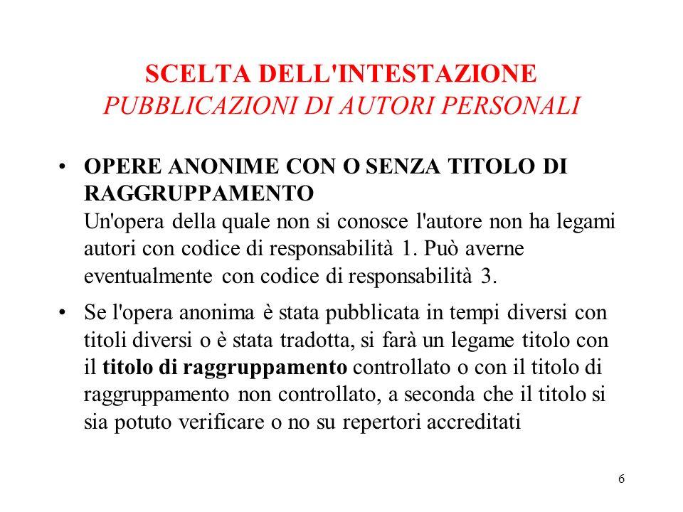 17 SCELTA DELL INTESTAZIONE PUBBLICAZIONI DI AUTORI PERSONALI ESEMPI Ricasoli, Bettino (C) [Codice di resp.
