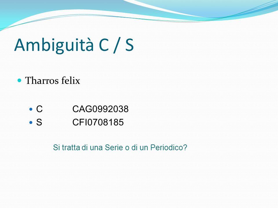 Ambiguità C / S Tharros felix CCAG0992038 SCFI0708185 Si tratta di una Serie o di un Periodico?