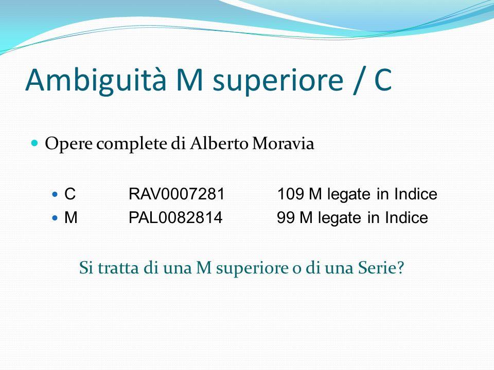 Ambiguità M superiore / C Opere complete di Alberto Moravia CRAV0007281109 M legate in Indice MPAL008281499 M legate in Indice Si tratta di una M supe