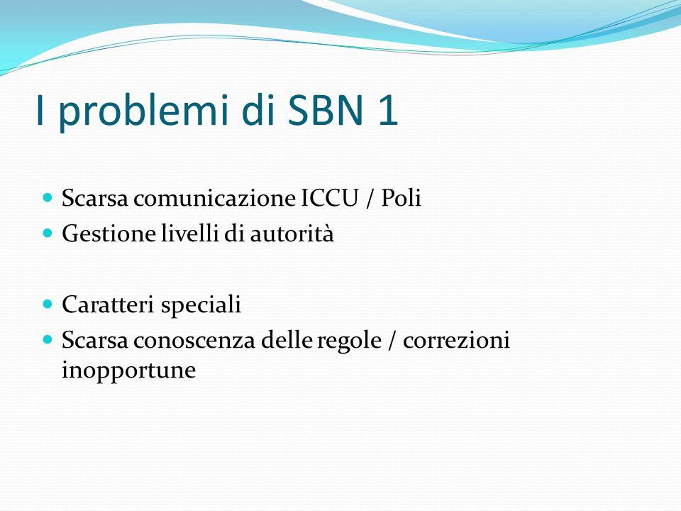 I problemi di SBN 1 Scarsa comunicazione ICCU / Poli Gestione livelli di autorità Caratteri speciali Scarsa conoscenza delle regole / correzioni inopp